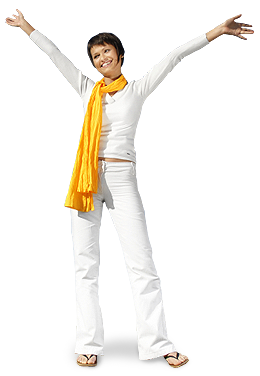 A happy, healthy woman in all white and yellow scarf rejoicing for chiropractic relief care.